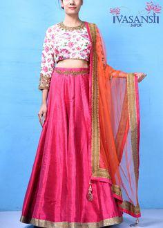 Vasansi Pink Raw Silk Crop Set Lehenga