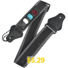 Guitar #Strap #With #3 #Pick #Holders #For #electric/Acoustic #Guitar #- #GRAY #BLACK