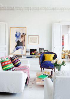 Decorating Ideas: 12 White Rooms with Pops of Color Photo #interior #design #decor #deco #decoration