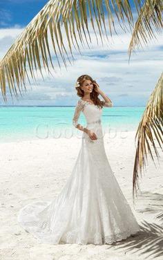 Robe de mariée modeste longue de sirène en grandes tailles de col en v
