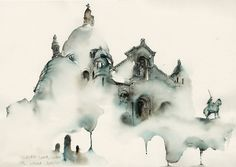 CJWHO ™ (Architectural Watercolors by Sunga Park Famous...) #watercolors #design #illustration #architecture #aquarelle #art