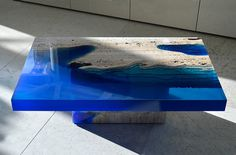 Cut Travertine Marble and Resin 'Lagoon' Table by Alexandre Chapelin