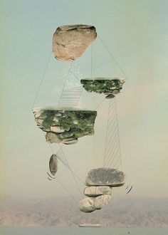 Islands by Tom Reznikov #islands #print #floating #nature #poster #art #collage #mountains