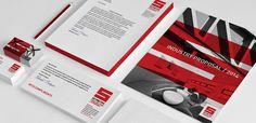 #red #construction #geometric #mono #stationery