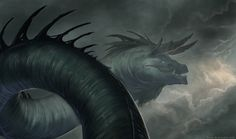Rain Wyrm - Brynn Metheney #dragon #fantasy #wyrm #illustration #rain #storm #magic #monster #character