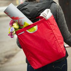Hold groceries with this backpack-converting bag that attaches to your bike.
