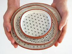 Three Tapas Plates - Ceramic Plate Set - Geometric Plates - Pottery Plates - MADE TO ORDER
