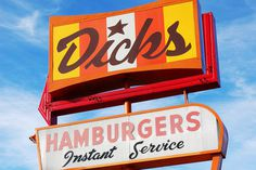 Dicks Drive In Signage #lettering #burger #script #seattle #sign #in #backlit #drive #joint
