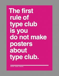 Type Club / Fight Club poster #type #poster #typography