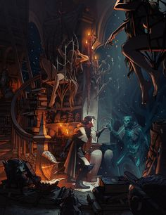 The Gray Mouser at the Bazaar of the Bizzare by MattRhodesArt #digital #illustration #fantasy #art