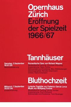 Josef Müller-Brockmann TANNHAUSER BLUTHOCHZEIT 1966 SWITZERLAND [ 127CM X 90CM ] via www.blanka.co.uk