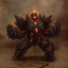 Golem Destroer Concepts for the russian MMO game #fantasy #golem #lava #illustration #fire #magic #monster #character