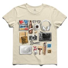 #designerism #beige #tee #tshirt #beerbottle #graphictablet #coffee #headphone #camera #watercolor #photoshop