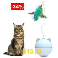 BENTOPAL #P02 #Creative #Automatic #Cat #Toy #Feather #Version #- #SEA #BLUE