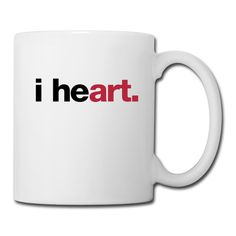 """i heart art"" Coffee/Tea Mug #heart #i #artlover #design #mug #art #coffee #helvetica #typography"