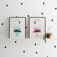 #nordic #design #graphic #illustration #danish #bright #simple #nordicliving #living #interior #kids #room #poster #cockatoo #bird #pink