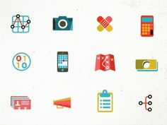 Dribbble - Icons (representing departments for job listings) by kellianderson #illustration #design #icons