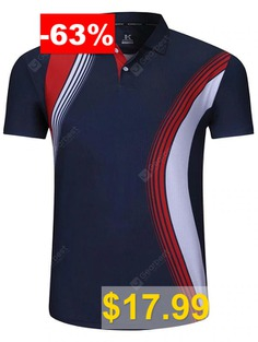 Men's #Short-sleeved #Turn-down #Collar #T-shirt #Printing #Breathable #Sportswear #Volleyball #Tennis #Tournament #Top #- #CADETBLUE