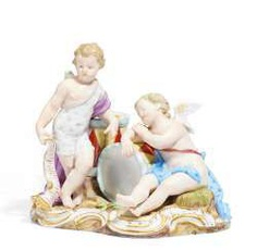 Cupids with drums. Meissen #Sets #Teasets #Porcelainsets #Antiqueplates #Plates #Wallplates #Figures #Porcelainfigurines #porcelain