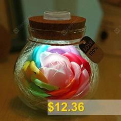 Soap #Rose #LED #Night #Light #Bottle #Valentine's #Day #Gift #- #PINK