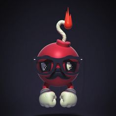 Kyle the Jthree Bomb on the Behance Network #glasses #red #wick #kyle #mustache #jared #nickerson #hands #flame #bomb #jthree