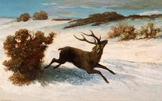 "Gustave Courbet with realistic painting ""Deer Running in the Snow"" #oil #painting #paintings"