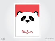Personalised Baby Print Big Panda by thenicestudio on Etsy #print #panda #illustration #poster #custom #cute #typography