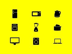 Dribbble - home appliances icon set by Jakub Burkot #appliances #kitchen #icons