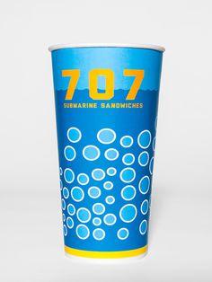 707 Submarine Sandwiches on Behance #sandwich #packaging #restaurant #brand #identity #submarine #cup
