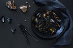 Mussels and Squid Ink Pasta