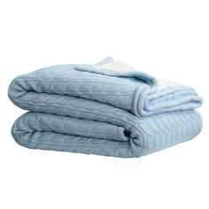 Cable Sherpa Knit Throw Dusty Blue 125cm x 150cm