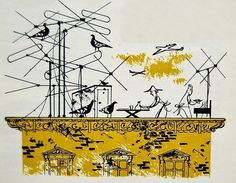 Illustrated by Charley Harper #antenna #birds #illustration #roof