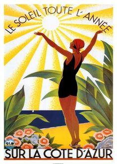 roger-broders-soleil-toute-lannee.jpg 321×450 pixels #dazur #france #roger #travel #poster #cote #broders