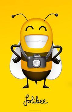 Folibee logo (The Ad Agency, www.theadagency.nl) #theadagency #camera #yellow #bee #illustration #logo #characterdesign