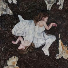 christer karlstad - empty kingdom - art blog #ground #wolves #design #girls #soil #illustration #strange #painting #surreal #art #forest