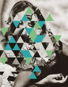 ▲ #retro #graphic #collage #triangle #face #mirror #crash #jigsaw #diffusion
