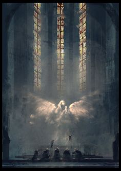 Notre Dame by Juhupainting on deviantART #spiritual #ghost #church #glass #illustration #angel #religion #art #notre #god #cathedral #stained #dame