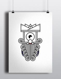 King #illustration #minimal #character #robots #king #creatures #characters #aliens #outline #stroke