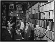 Hardformat » Portrait of Milt Gabler, Herbie Hill, Lou Blum, and Jack Crystal, Commodore Record Shop, New York, ca. Aug. 1947 #music #vinyl #record #store