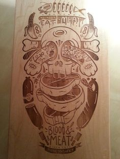 Skateboard Deck by Burak xc5x9eentürk #board #design #wood #illustration #skateboard