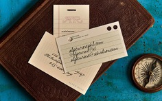 """The handwriting fonts on these address cards are (from top to bottom of the stack): , , . The shaded caps for """"Alpen Rose"""" are from ."""