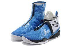 Men Sport Sneakers 2013 Air Jordan 28: Blue Camo Photo Blue and White Color