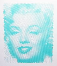 Marilyn Monroe turquoise polargraph robot drawing by uptomuch #line #continuous #monroe #marilyn #drawing
