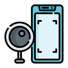 See more icon inspiration related to cctv, touch screen, electronics, mobile phone, communications, smartphone, security, cellphone, iphone and technology on Flaticon.