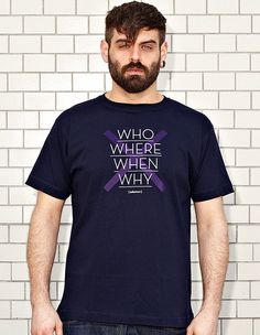 NATRI - CROSS TYPE - navy blue t-shirt - men: who, where, when, why - whatever #modern #print #design #shirt #minimal #fashion #type #typography