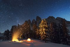 The Camp in the Wild Mountains by Photographer Lukas Furlan #wild #camp #night #photography #mountains
