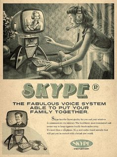 Retro Future Ads For Facebook, YouTube & Skype #illustration #retro #skype
