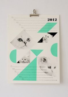 dreamcats 2012 calendar mint by fieldguided on Etsy #calendar #cats #fieldguided