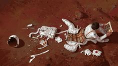 Michal Lisowski #white #emergency #astronaut #lisowski #michal #illustration #brown #painting #comics