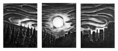 Sunset Tryptic - Charcoal Drawing by Zach Johnson